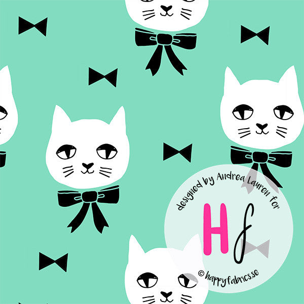 HAPPY FABRICS KNIT Fancy Cat Mint by Andrea Lauren - SALE $29.00 p/m