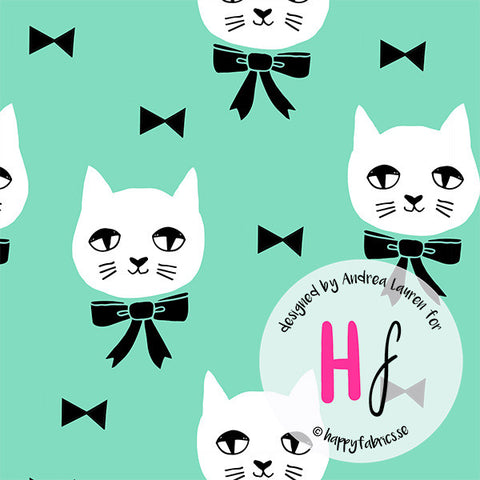 HAPPY FABRICS KNIT Fancy Cat Mint by Andrea Lauren - NEW ARRIVAL