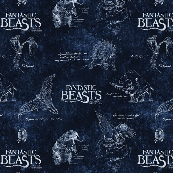WIZARDING WORLD FANTASTIC BEASTS Logo & Beasts Navy