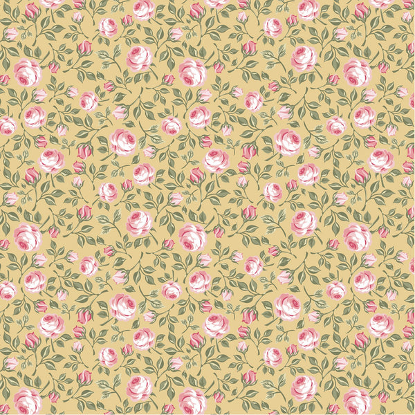 GINGHAM FARMHOUSE Vintage Roses Yellow