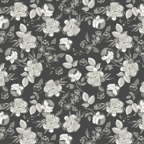 GINGHAM GARDENS Lined Floral Charcoal - NEW ARRIVAL