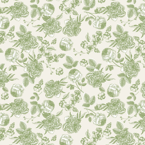 GINGHAM GARDENS Lined Floral Green - NEW ARRIVAL