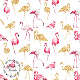 CUSTOM DIGITAL FABRIC Glitter Flamingos - White - NEW ARRIVAL