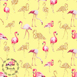 CUSTOM DIGITAL WOVEN (Cotton Sateen 130gsm) Glitter Flamingos - Yellow