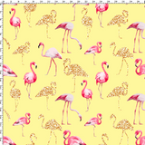 CUSTOM DIGITAL WOVEN (Cotton Sateen 130gsm) Glitter Flamingos - Yellow - NEW ARRIVAL