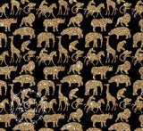 CUSTOM DIGITAL FABRIC Sparkle Safari - Animals Multi Gold on Black - PRE ORDER (Feb 2019)