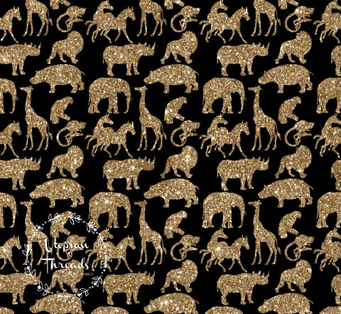 CUSTOM DIGITAL FABRIC Sparkle Safari - Animals Multi Gold on Black - NEW ARRIVAL