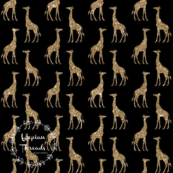 CUSTOM DIGITAL WOVEN (Cotton Sateen 150gsm) Sparkle Safari - Giraffes Gold on Black