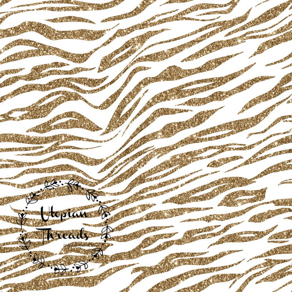 CUSTOM DIGITAL WOVEN (Cotton Sateen 150gsm) Sparkle Safari - Zebra Print Gold on White