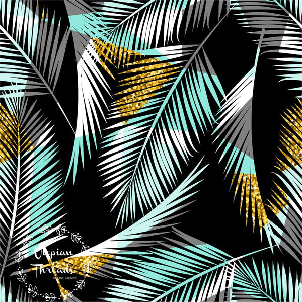 CUSTOM DIGITAL FABRIC Golden Palms - Tri Palm Leaves on Black - NEW ARRIVAL