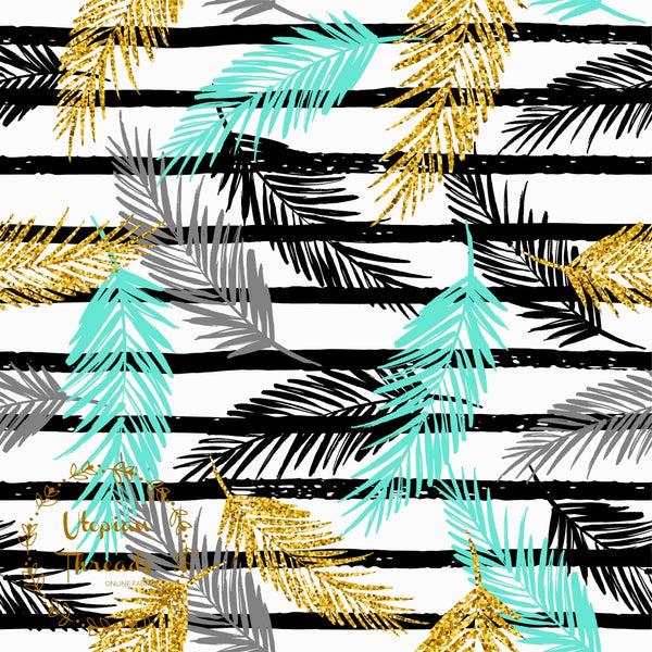 CUSTOM DIGITAL FABRIC Golden Palms - Tri Palm Leaves on White with Stripes