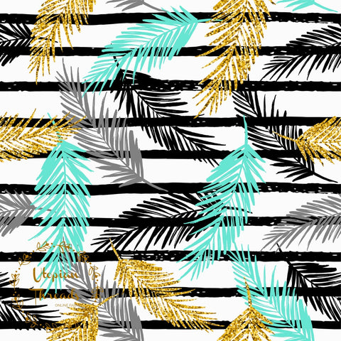 CUSTOM DIGITAL FABRIC Golden Palms - Tri Palm Leaves on White with Stripes - NEW ARRIVAL