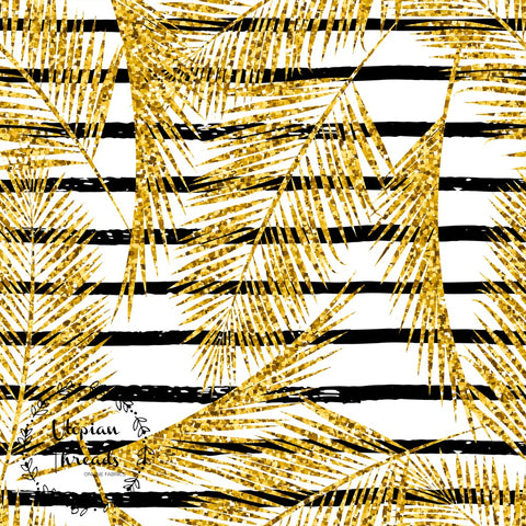 CUSTOM DIGITAL FABRIC Golden Palms - Gold Palm Leaves on White with Stripes