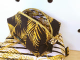 CUSTOM DIGITAL FABRIC Golden Palms - Gold Palm Leaves on White with Stripes - NEW ARRIVAL