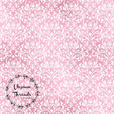 CUSTOM DIGITAL WOVEN (Cotton Poplin 140gsm) Gothic Glam - Damask Pink White