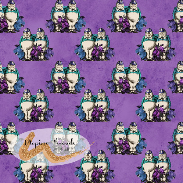 CUSTOM DIGITAL PRINT Gothic Alice - Tweedle Dum & Tweedle Dee Grape