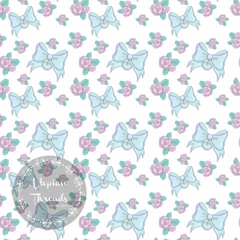 CUSTOM DIGITAL FABRIC Kawaii Baby Animals Blue - Heart Bows Blue - BY REQUEST