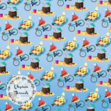 CUSTOM DIGITAL WOVEN (Cotton Poplin 140gsm) Kawaii Summer Fruit - Beach Party Blue - NEW ARRIVAL