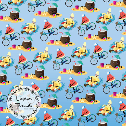 CUSTOM DIGITAL FABRIC Kawaii Summer Fruit - Beach Party Blue - BY REQUEST