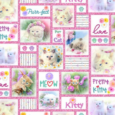 KITTY GLITTER Pink Kitty Patchwork