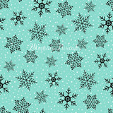 CUSTOM DIGITAL WOVEN (Cotton Sateen 130gsm) Modern Christmas Aqua - Snowflakes Aqua