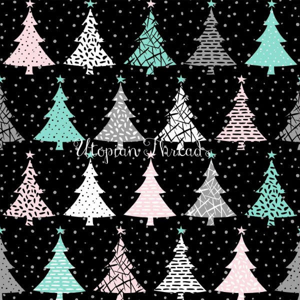 CUSTOM DIGITAL WOVEN (Cotton Sateen 150gsm) Modern Christmas Aqua - Trees Black