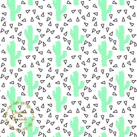 CUSTOM DIGITAL FABRIC Neon Cactus - Mint - NEW ARRIVAL