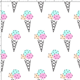 CUSTOM DIGITAL FABRIC Neon Sorbet - Icecreams White