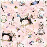 CUSTOM DIGITAL FABRIC Oh Sew Cute - Tools of the Trade Baby Pink
