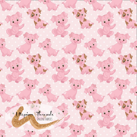 CUSTOM DIGITAL WOVEN (Cotton Sateen 150gsm) On The Farm - Pigs Pink