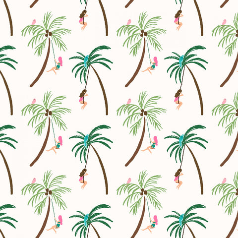 PARADISE CITY Palm Tree Swinger Cream - SALE $17.00 p/m