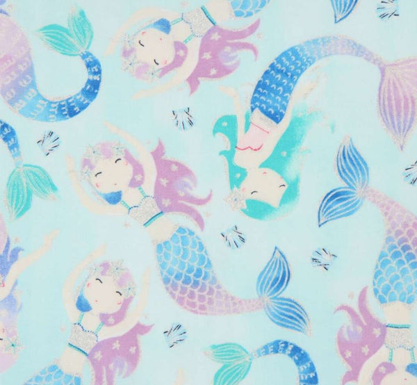 PASTEL MERMAIDS Light Blue with Sparkle