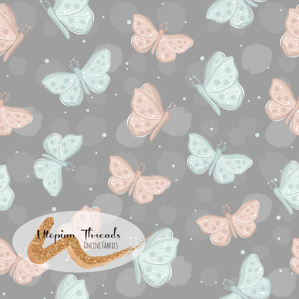 CUSTOM DIGITAL WOVEN (Cotton Sateen 150gsm) Pastel Woodland - Butterflies Taupe