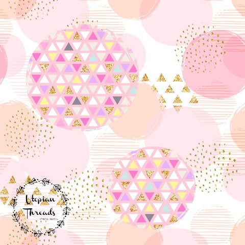 CUSTOM DIGITAL WOVEN (Cotton Sateen 150gsm) Pastel Bunnies - Geo Circles Apricot - NEW ARRIVAL