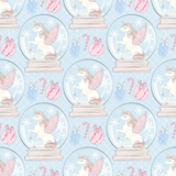 CUSTOM DIGITAL KNIT Pastel Christmas - Snow Globes Blue - NEW ARRIVAL