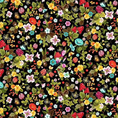 PEACE IN THE FOREST Floral Toss Black - NEW ARRIVAL