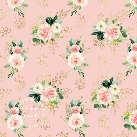 CUSTOM DIGITAL FABRIC Peach Glamour - Bouquet Peach - BY REQUEST