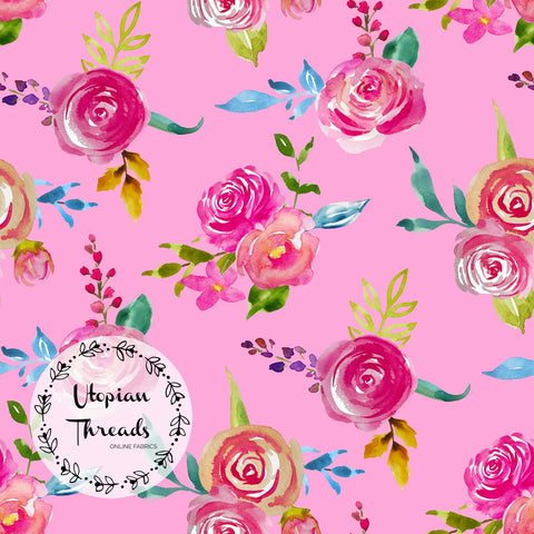 CUSTOM DIGITAL FABRIC Pink Passion - Blooms & Bouquets Spaced on Pink - BY REQUEST