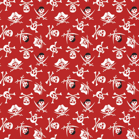 PIRATE TALES Skulls Red - NEW ARRIVAL