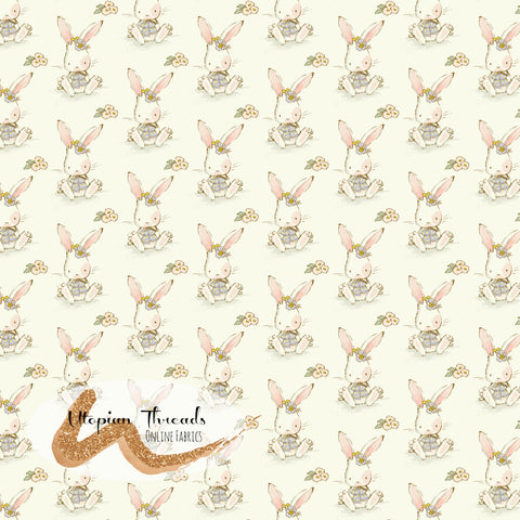 CUSTOM DIGITAL PRINT Playful Spring - Bunnies Cream