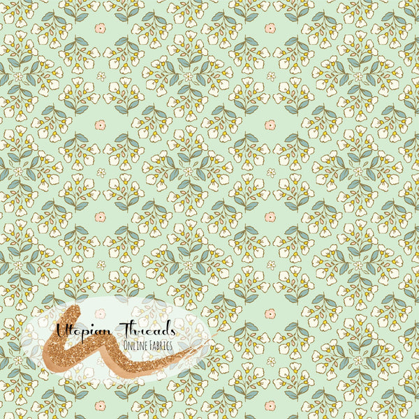 CUSTOM DIGITAL WOVEN (Cotton Poplin 140gsm) Playful Spring - Floral Patch Mint
