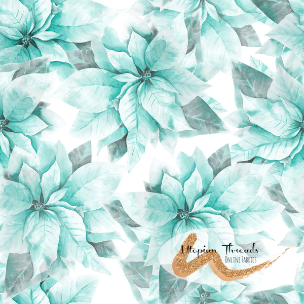 CUSTOM DIGITAL WOVEN (Cotton Poplin 140gsm)  Pretty Poinsettias - Aqua Ice