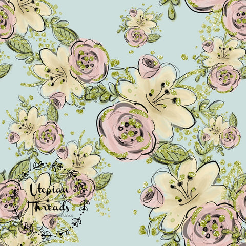 CUSTOM DIGITAL FABRIC Cutieful Kittens - Floral Aqua - NEW ARRIVAL