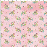 CUSTOM DIGITAL WOVEN (Cotton Sateen 130gsm) Princess Unicorns - Pastel Glitter Silhouettes Pink