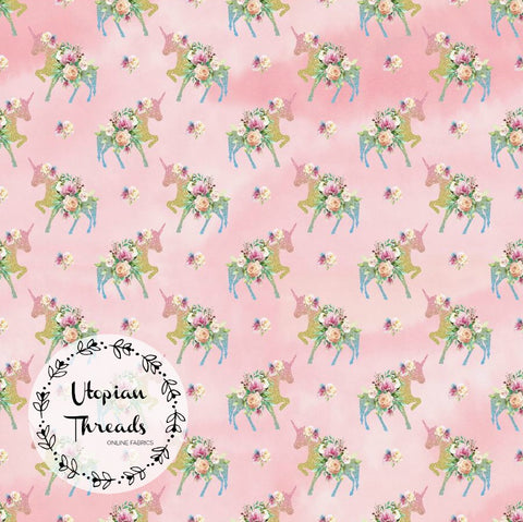 CUSTOM DIGITAL FABRIC Princess Unicorns - Pastel Glitter Silhouettes Pink - NEW ARRIVAL