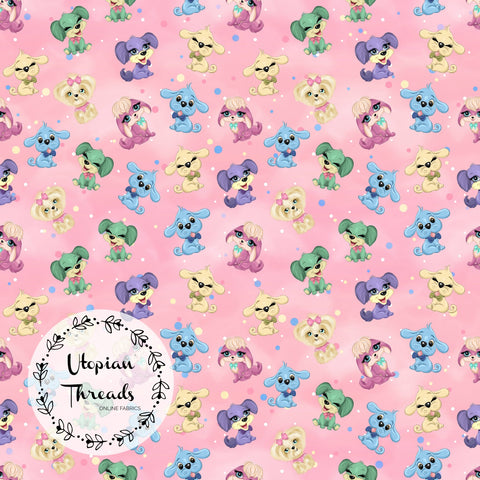 CUSTOM DIGITAL FABRIC Puppy Party - Mini Puppy Toss - Pink - NEW ARRIVAL