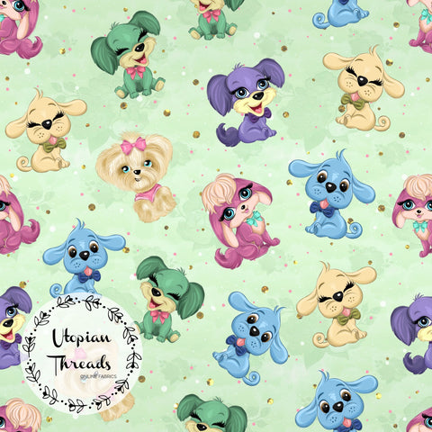 CUSTOM DIGITAL KNIT (Cotton Lycra 220gsm) Puppy Party - Toss Light Green - NEW ARRIVAL