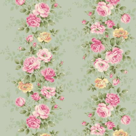 RURU BOUQUET SWEET ROSE Floral Wallpaper Green - NEW ARRIVAL