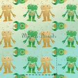 CUSTOM DIGITAL WOVEN (Cotton Sateen 130gsm)  Rockets & Robots - Green - NEW ARRIVAL