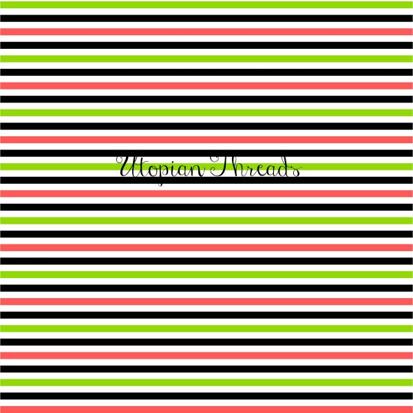 CUSTOM DIGITAL WOVEN (Cotton Sateen 130gsm) Kawaii Sushi - Stripes